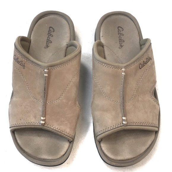 5fafadef1f1a Cabela s Tan Open Toe Slide Comfy Rubber Sandals